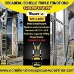 ESCABEAU-ÉCHELLE TÉLESCOPIQUE WOERTHER TRIPLE FONCTIONS / 5M-2M50 / AVEC HOUSSE / MODÈLE GRAFITEK , EN GRAPHITE ET ALUMINIUM 7175T6 / AVEC DOUBLES BARRES STABILISATRICES / GARANTIE 5 ANS de la marque Woerther Echelle image 1 produit