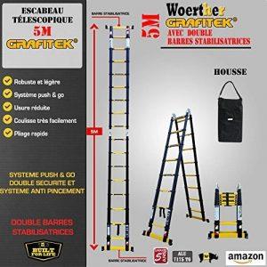 ESCABEAU-ÉCHELLE TÉLESCOPIQUE WOERTHER TRIPLE FONCTIONS / 5M-2M50 / AVEC HOUSSE / MODÈLE GRAFITEK , EN GRAPHITE ET ALUMINIUM 7175T6 / AVEC DOUBLES BARRES STABILISATRICES / GARANTIE 5 ANS de la marque Woerther Echelle image 0 produit