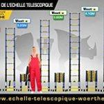 ESCABEAU-ÉCHELLE TÉLESCOPIQUE WOERTHER TRIPLE FONCTIONS / 5M-2M50 / AVEC HOUSSE / MODÈLE GRAFITEK , EN GRAPHITE ET ALUMINIUM 7175T6 / AVEC DOUBLES BARRES STABILISATRICES / GARANTIE 5 ANS de la marque Woerther Echelle image 4 produit