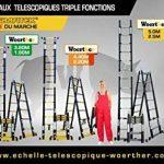 ESCABEAU-ÉCHELLE TÉLESCOPIQUE WOERTHER TRIPLE FONCTIONS / 5M-2M50 / AVEC HOUSSE / MODÈLE GRAFITEK , EN GRAPHITE ET ALUMINIUM 7175T6 / AVEC DOUBLES BARRES STABILISATRICES / GARANTIE 5 ANS de la marque Woerther Echelle image 3 produit