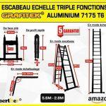 ESCABEAU-ÉCHELLE TÉLESCOPIQUE WOERTHER TRIPLE FONCTIONS / 5M60-2M80 / MODÈLE GRAFITEK , EN GRAPHITE ET ALUMINIUM 7175T6 / AVEC DOUBLES BARRES STABILISATRICES / GARANTIE 5 ANS de la marque Woerther Echelle image 2 produit