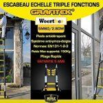 ESCABEAU-ÉCHELLE TÉLESCOPIQUE WOERTHER TRIPLE FONCTIONS / 5M60-2M80 / MODÈLE GRAFITEK , EN GRAPHITE ET ALUMINIUM 7175T6 / AVEC DOUBLES BARRES STABILISATRICES / GARANTIE 5 ANS de la marque Woerther Echelle image 1 produit