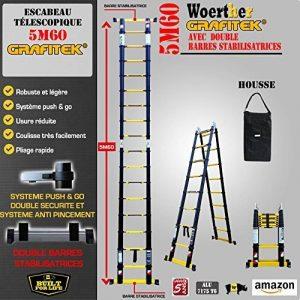 ESCABEAU-ÉCHELLE TÉLESCOPIQUE WOERTHER TRIPLE FONCTIONS / 5M60-2M80 / MODÈLE GRAFITEK , EN GRAPHITE ET ALUMINIUM 7175T6 / AVEC DOUBLES BARRES STABILISATRICES / GARANTIE 5 ANS de la marque Woerther Echelle image 0 produit