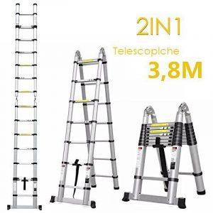 Fixkit Echelle Télescopique Escabeau Telescopique Echelle Pliante Echelle Escamotable en Aluminium 2.6M/3.2M/3.8M/5M (3.8M Pliante) de la marque Fixkit image 0 produit