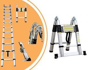 Leogreen - Escabeau échelle 2 en 1 - Échelle télescopique 3.80 mètres en aluminium Pliable avec barre stabilisatrice - Norme EN131 - Garantie 2 ans de la marque Leogreen image 0 produit