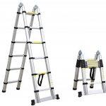 Leogreen - Escabeau échelle 2 en 1 - Échelle télescopique 3.80 mètres en aluminium Pliable avec barre stabilisatrice - Norme EN131 - Garantie 2 ans de la marque Leogreen image 1 produit