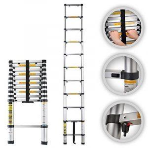 MAXCRAFT–échelle télescopique en aluminium pliable extensible multi-usages sécurité avec protection du doigt pliable marches 3,20m de la marque MA-Trading image 0 produit