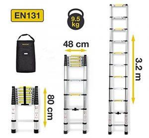 Nordstrand 3,2m Echelle Escabeau Télescopique Pliable Multifonctions en Aluminium - avec Sac de Transport - Norme EN131 de la marque Nordstrand image 0 produit