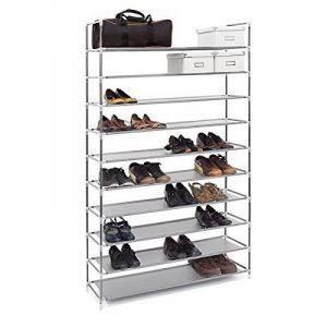Relaxdays Étagère à chaussures XXL pour 50 paires meuble range-souliers 10 étages compartiments HlP: rangement couloir cave 175,5 x 100 x 29 cm- gris de la marque Relaxdays image 0 produit