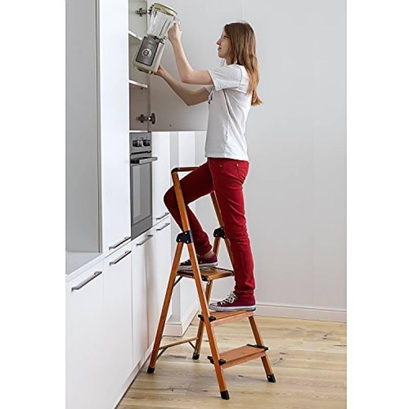 Tabouret marchepied casa pura/® roulant rouge m/étal avec plateforme caoutchouc antid/érapante