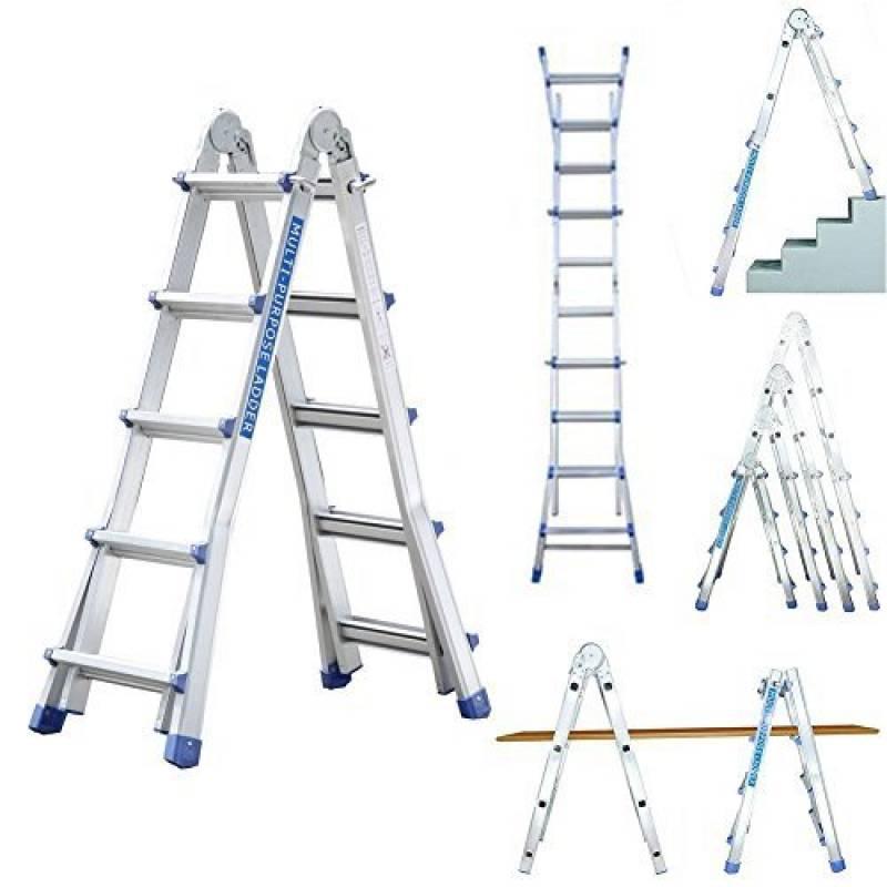 /Échelle 5m t/élescopique escabeau multifonctions U/® Echelle Pliable Extensible aluminium 5,4m 2,7 + 2.7