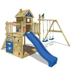 WICKEY Aire de jeux en bois Smart Lodge 120 Portique de jeux avec toboggan, balançoire double, grand bac à sable, toit en bois et mur d'escalade de la marque Wickey image 0 produit