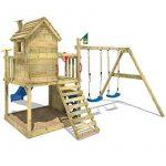 WICKEY Aire de jeux en bois Smart Lodge 120 Portique de jeux avec toboggan, balançoire double, grand bac à sable, toit en bois et mur d'escalade de la marque Wickey image 3 produit